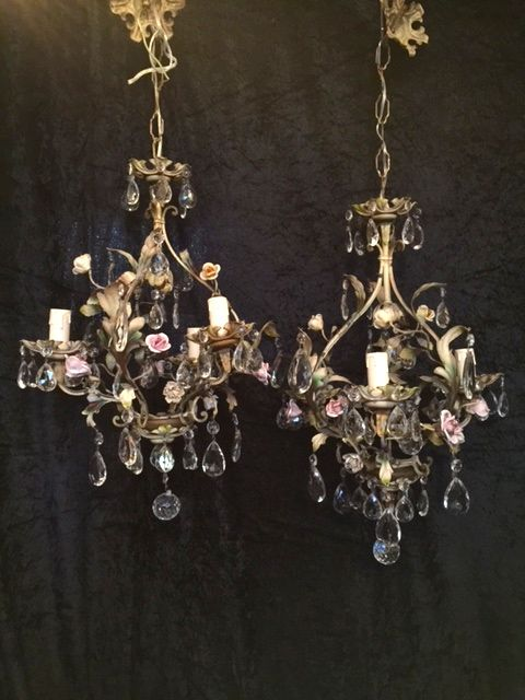 pair of floral italian antique chandeliers