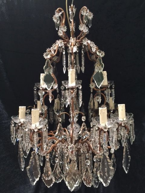 italian antique florentine 12 light gilt chandelier