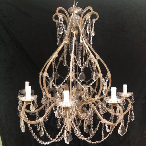 a pair of traditional florentine beaded framed chandeliers