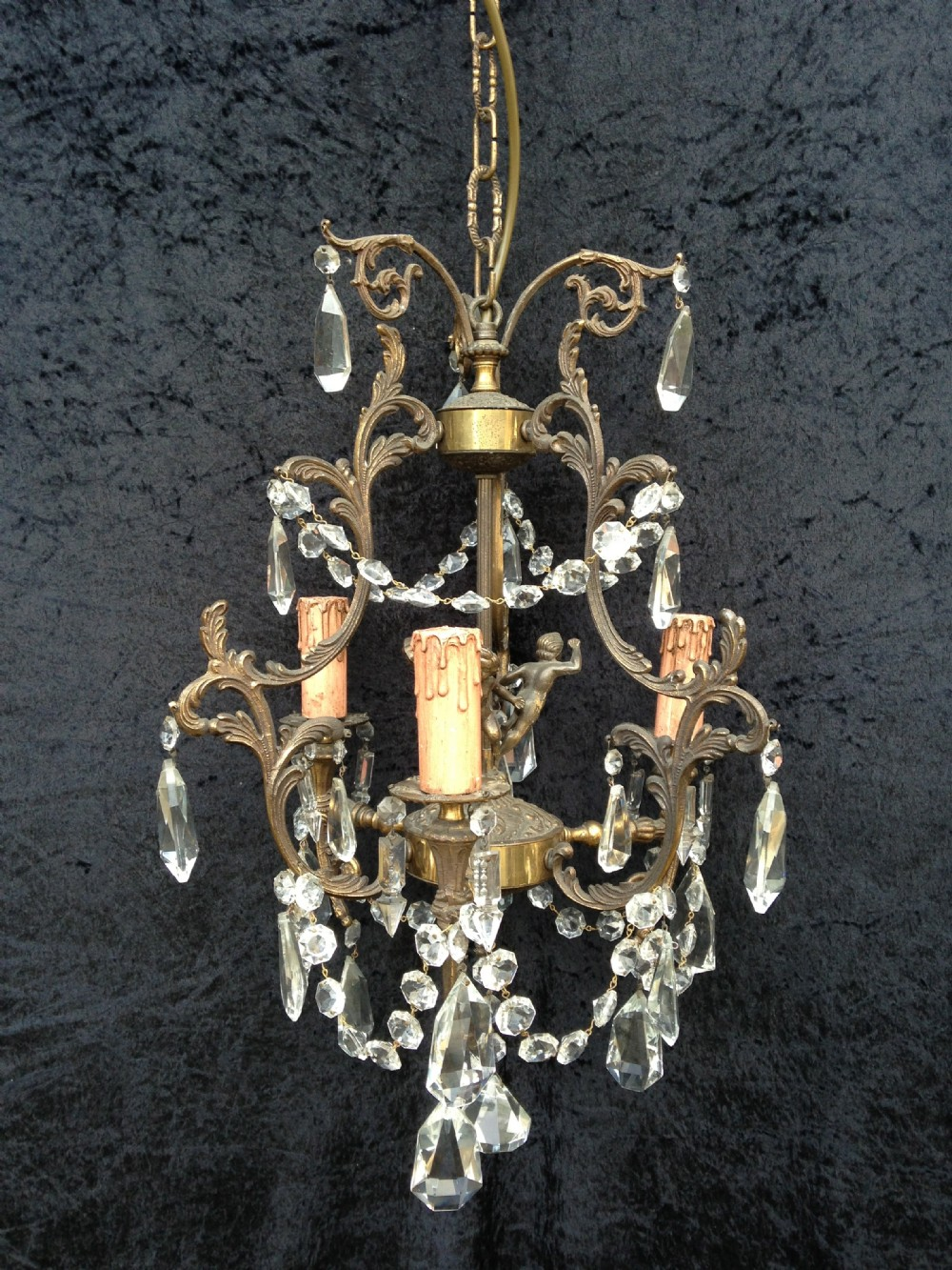 italian antique brass and crystal chandelier with cherubs