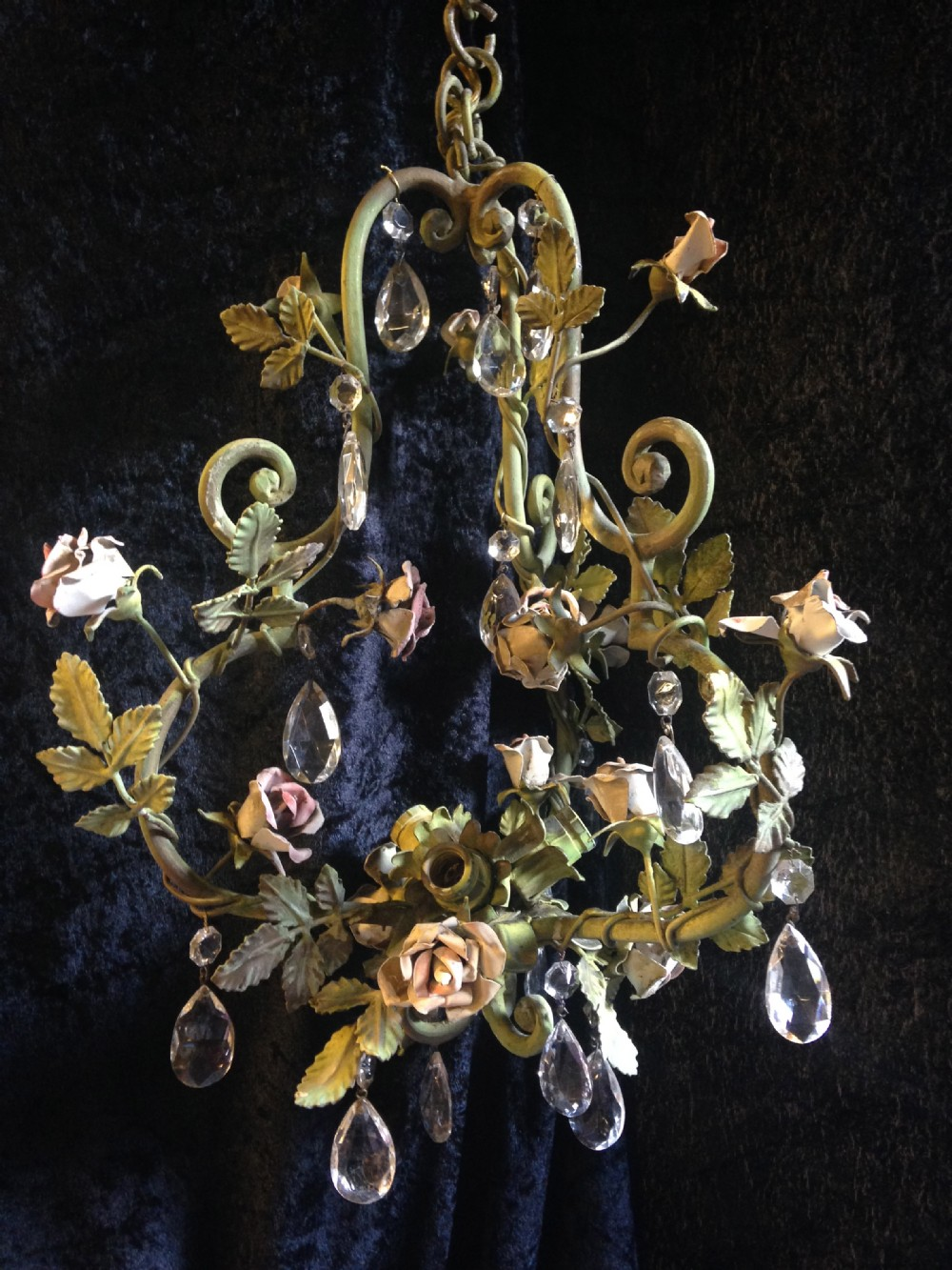 antique italian porcelain rose and foliate chandelier