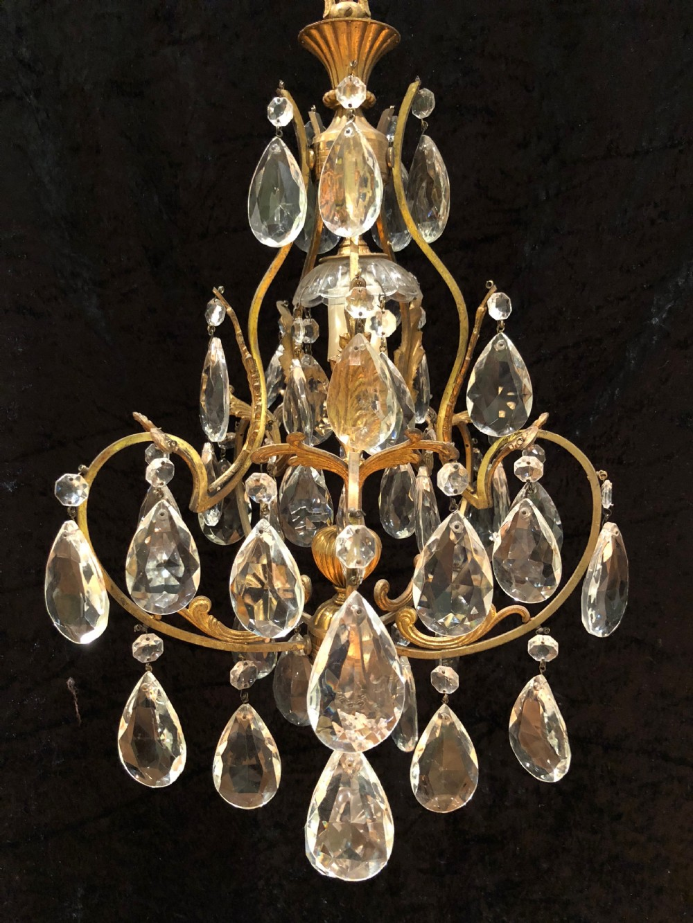 italian small antique one light chandelier