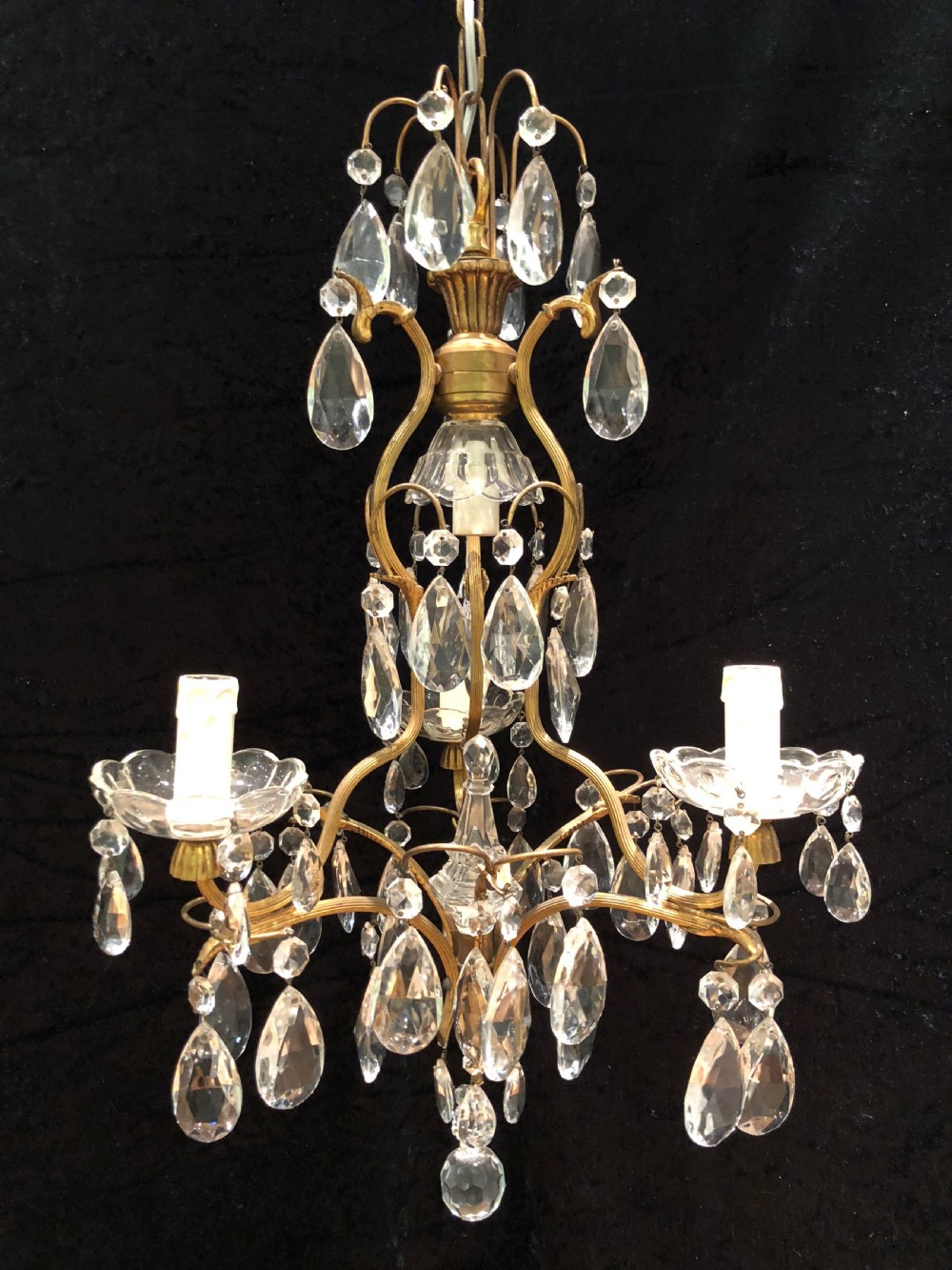 french gilt 4 light birdcage antique chandelier