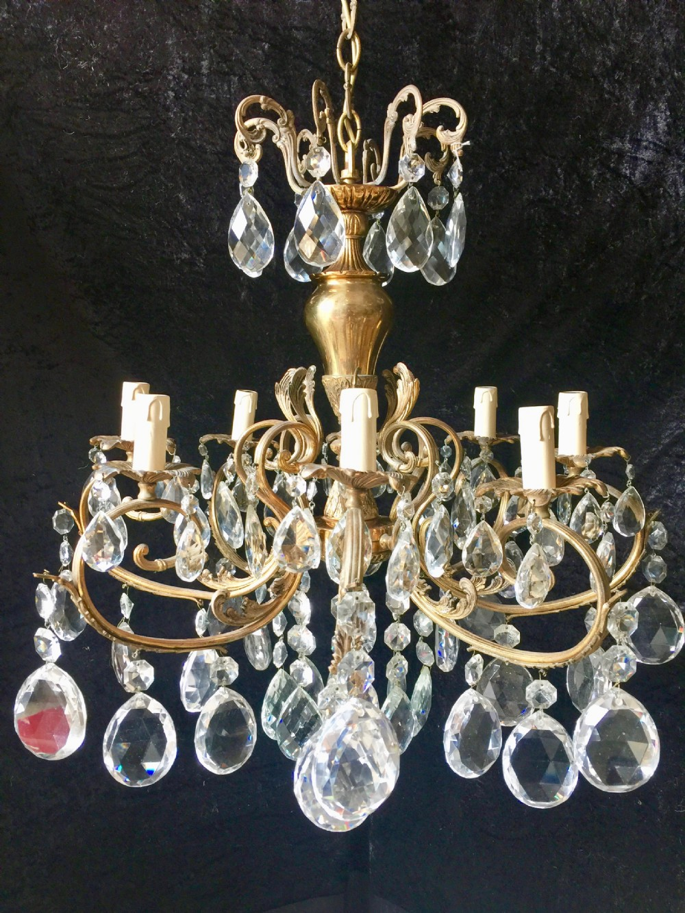 italian brass and crystal 8 light antique chandelier