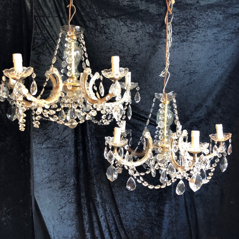 a pair of italian marie theresa chandeliers