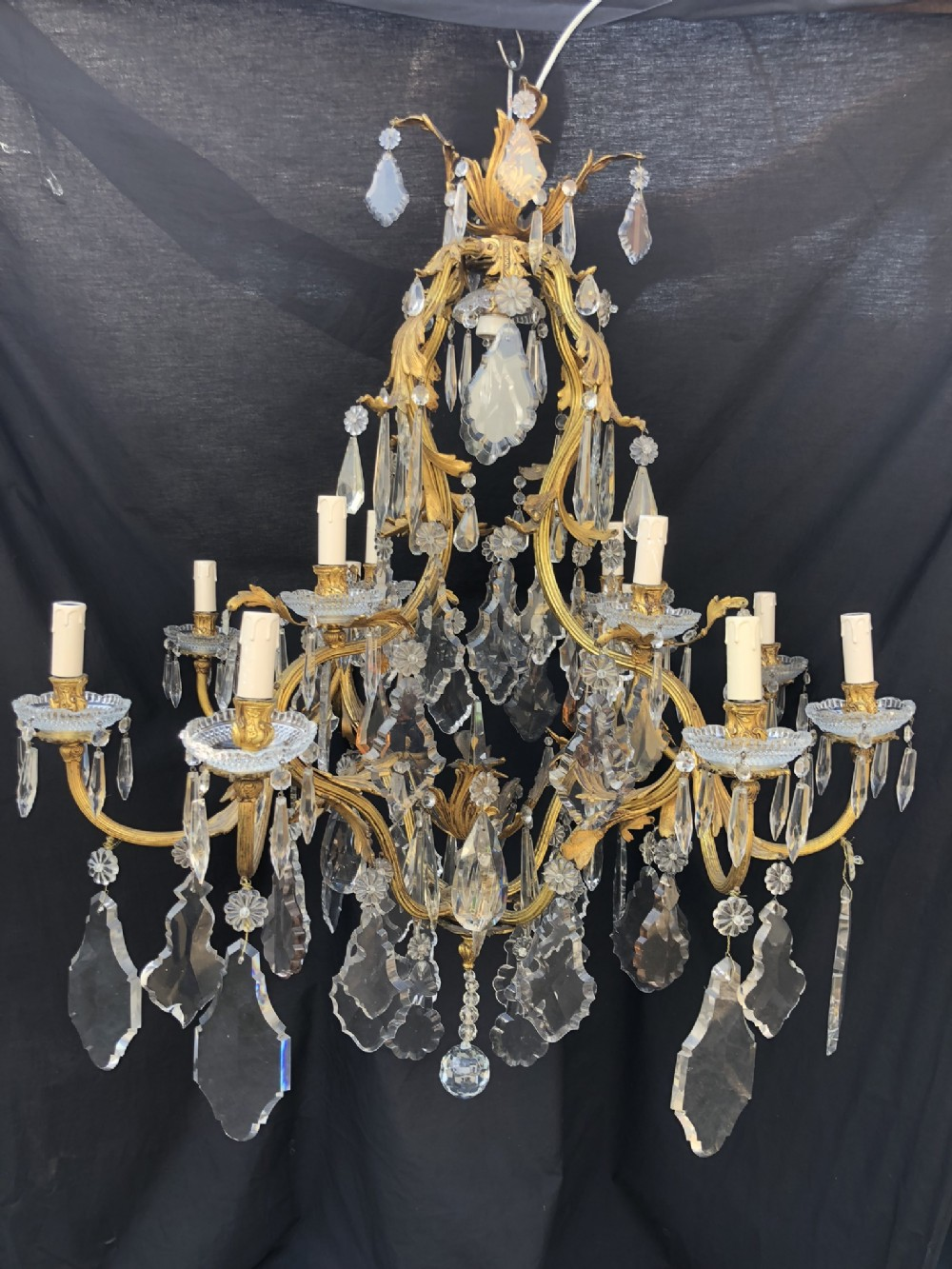 a superb good quality large 13 light antique french chandelier