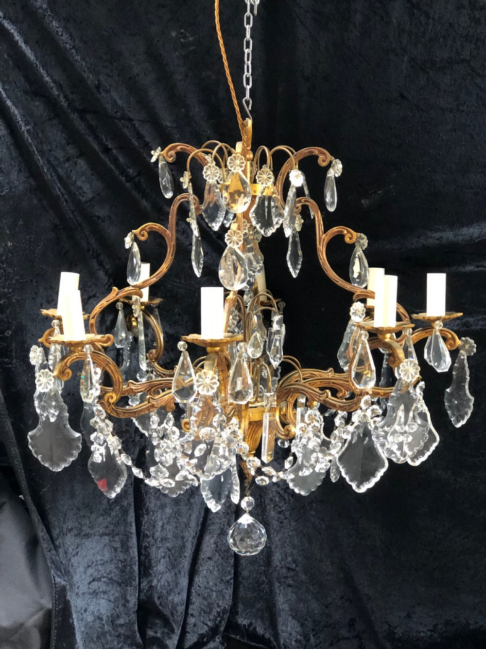 a french six light gilt framed cage antique chandelier