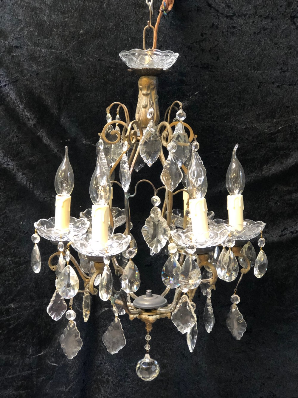a six light french cage antique chandelier