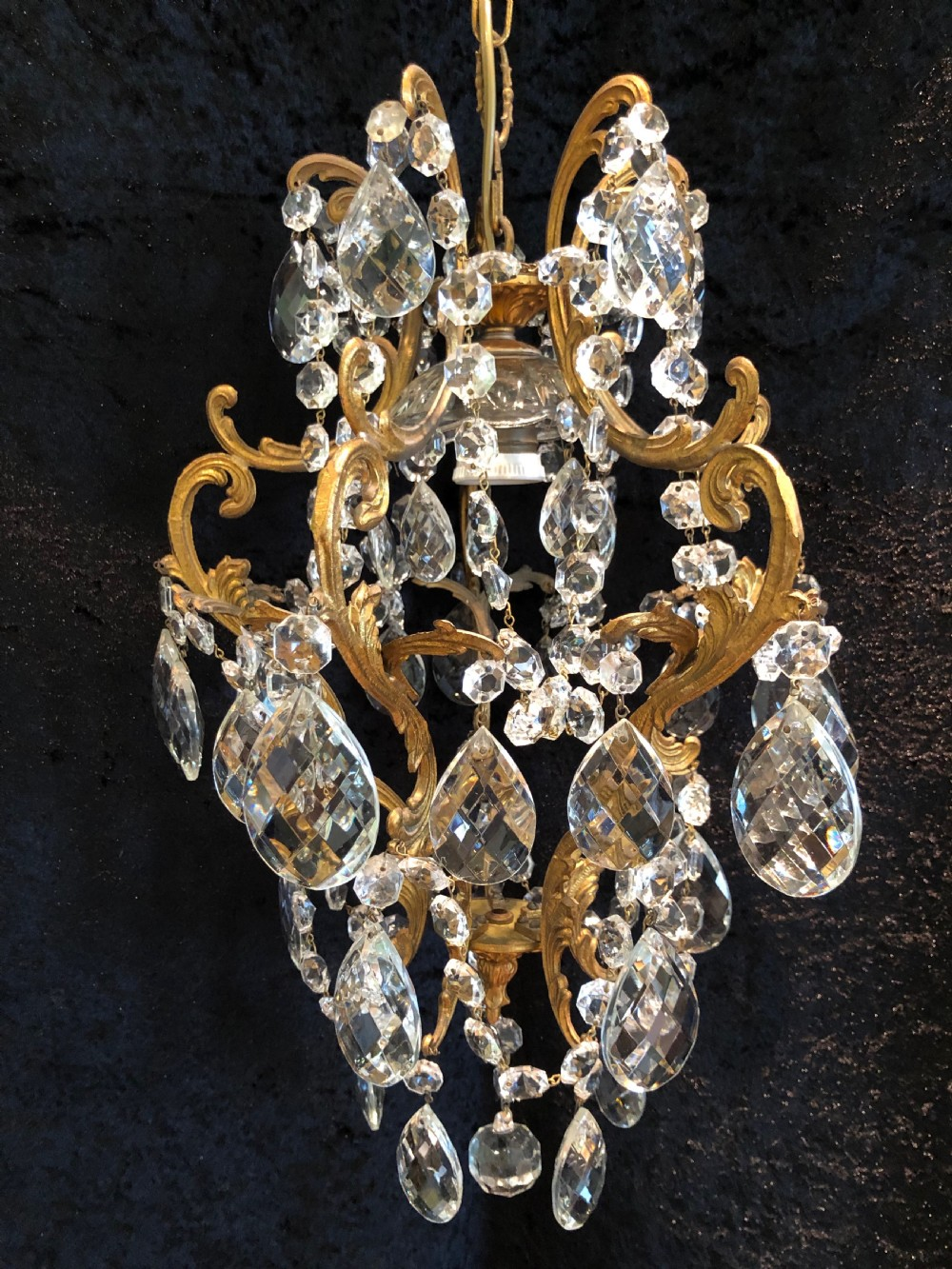one light small antique italian chandelier