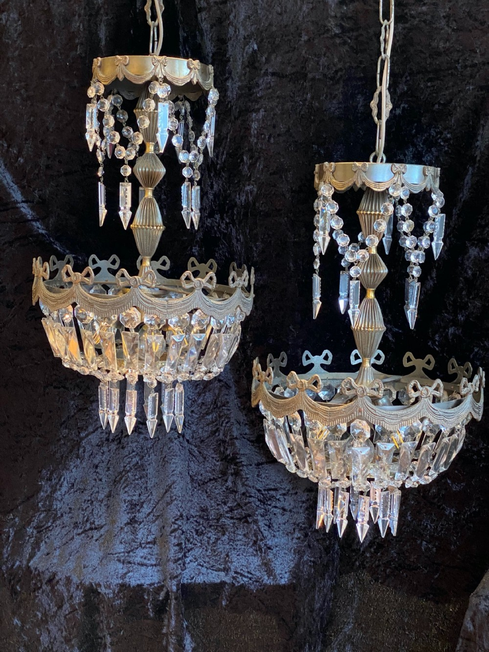 an elegant pair of french basket chandeliers