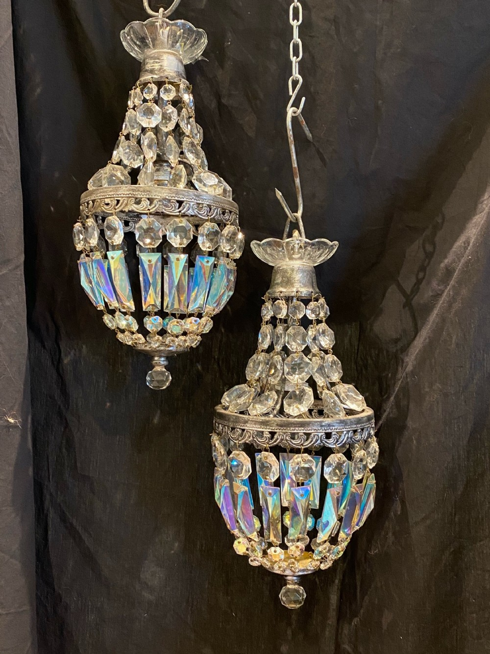 pair of small french empire chandeliers